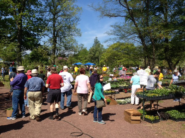 crowd of people looking at tables of plant