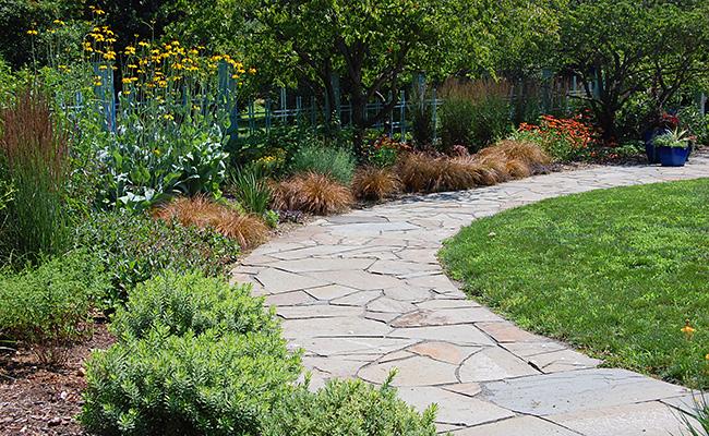 Stone path in garden.