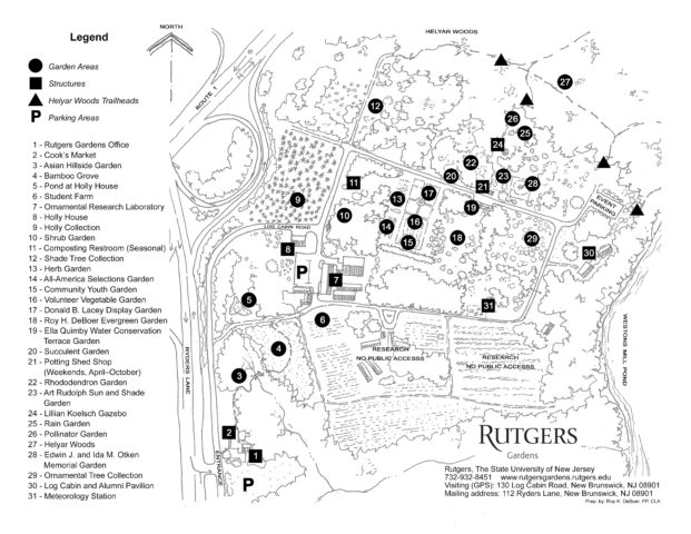 Map of different areas of gardens.