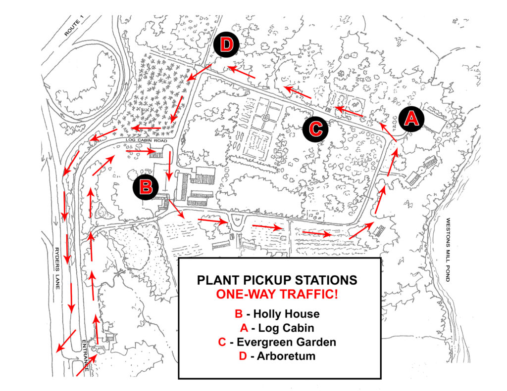 Map of Rutgers Gardens showing plant sale pickup stations